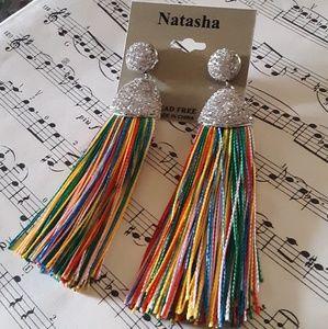 Natasha Statement Rainbow Tassle Gem Earrings
